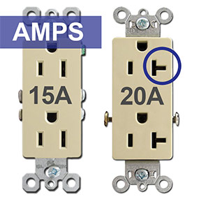 Electrical Outlet Types - 15A 20A TL GFCI AFCI Round Square