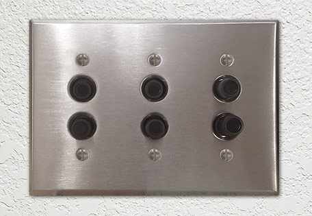 Triple Push Button Cover Plate with Switches and Dimmer